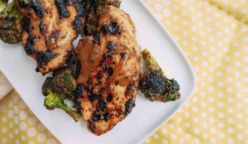 Kim's Almond Butter Chicken with Roasted Broccoli
