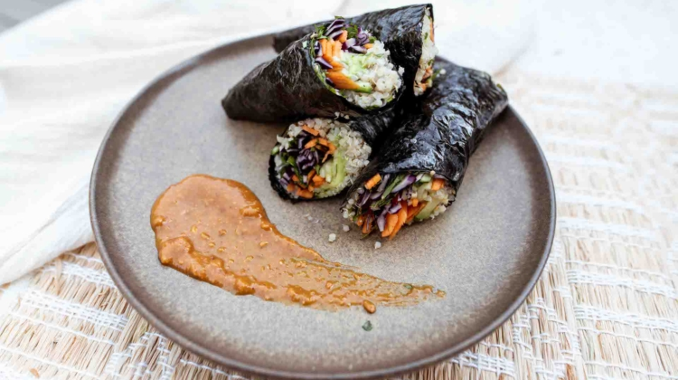 Rice Paper Wraps with Nut Butter Sauce