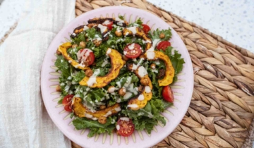 Kale Squash Chickpea Salad With Tahini Dressing